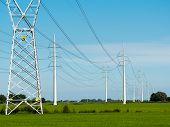 stock photo of transmission lines  - High voltage power lines - JPG