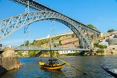 image of dom  - bridge of Dom Luis I at sunny day in old Porto - JPG