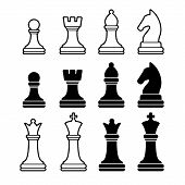 stock photo of throne  - Chess Pieces Including King Queen Rook Pawn Knight and Bishop - JPG