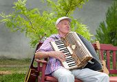 pic of accordion  - Old man enjoying playing accordion in his garden - JPG