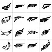 image of tribal  - Wings design elements set in different styles vector illustration - JPG