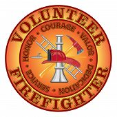 picture of slogan  - Fire department or volunteer firefighter design with firefighter tools symbol encircled by  - JPG