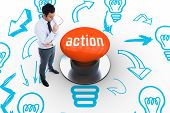 picture of button down shirt  - The word action and unsmiling businessman holding glasses against orange push button - JPG