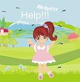 picture of gnats  - little girl runs away from mosquitoes  - JPG