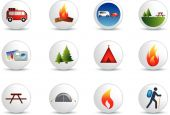 picture of camper-van  - camping and outdoor detailed colour illustration icon set - JPG