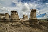 picture of hoodoo  - Famous Hoodoos located near Drumheller in the Badlands of Alberta - JPG