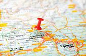 picture of vicenza  - Close up of Vicenza Italy map with red pin - Travel concept