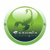 pic of scorpio  - Abstract colorful illustration with green button with the scorpio symbol from the zodiac - JPG