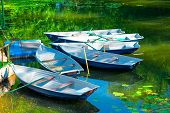 foto of dock a pond  - rowing boats in the pond in the early morning - JPG