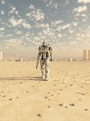 pic of trooper  - Science fiction illustration of a space marine trooper on patrol in the desert outside a future city - JPG