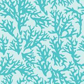stock photo of medusa  - Vector seamless pattern with blue coral - JPG
