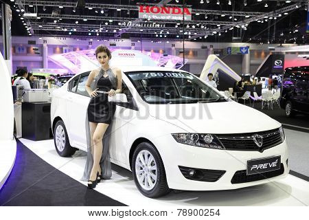 Bangkok - November 28: Proton Preve Car With Unidentified Model On Display At The Motor Expo 2014 On