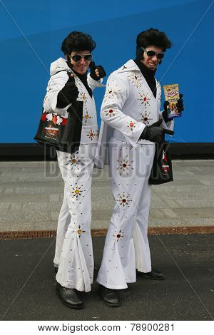 Only in New York. Unidentified street performers dressed as Elvis Presley at Times Square in Midtown