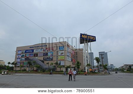 Front view of a Metro supermarket in Hanoi capital