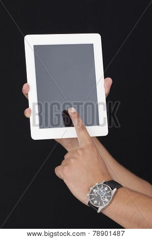 Touching the digital Tablet with Index Finger