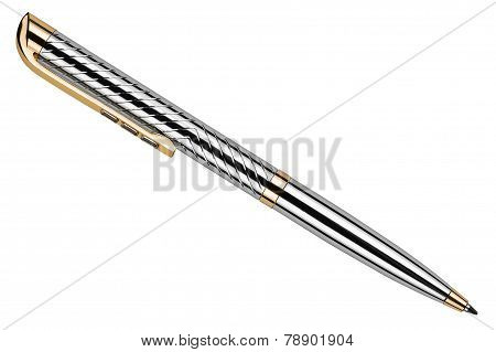 Silver Pen Isolated On White Background