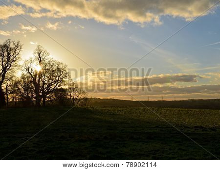 Sunset over the English countryside.