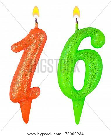 Birthday Candles Number Sixteen Isolated On White