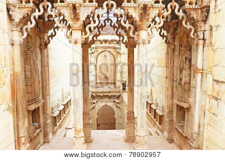 Delicately Carved Queen's Step Well. Rani Nathawat Bundi India