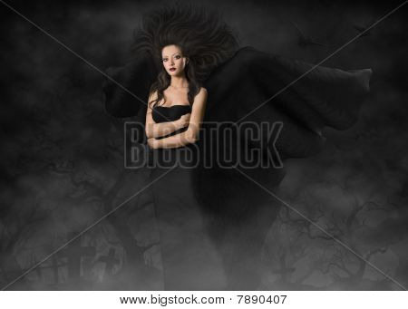 Beautiful Gothic Style Woman With Wings