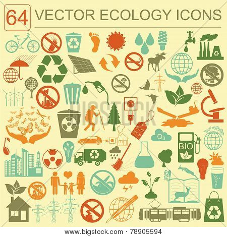 Environment, Ecology Icon Set. Environmental Risks, Ecosystem