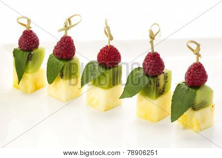 cream dessert and fruit