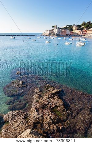 Seascape in a italian small harbour. Setri Levante, Mediterranean sea, Liguria, Italy, Europe.
