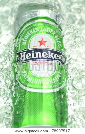 Heineken lager beer in splashed water