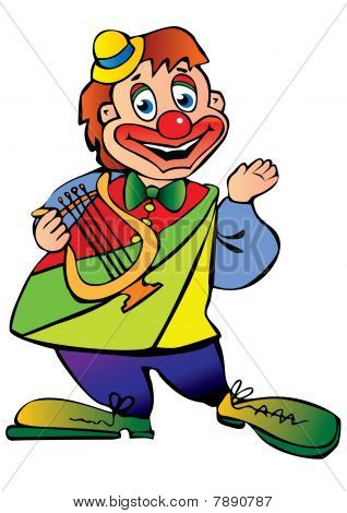 Clown with a lyre.