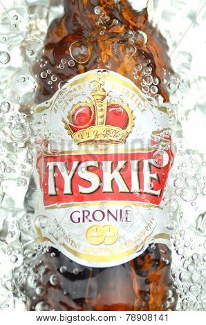 Tyskie pale lager beer in splashed water