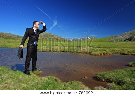 A businessman searching for a way