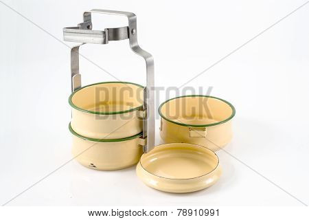 Old Food Carrier Isolated On White Background