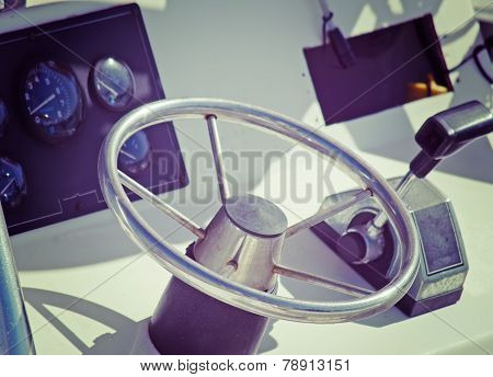 Boat Steering Wheel And Throttle In Vintage Tone