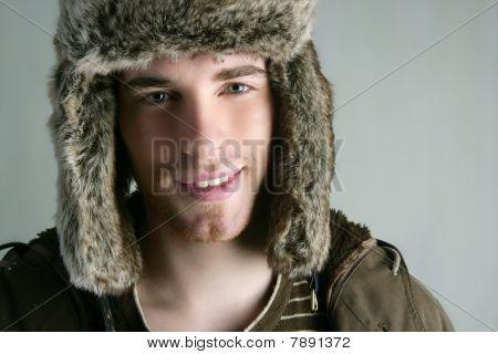 Fur Winter Fashion Hat Young Man Brown Autumn