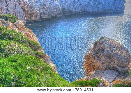 Rocky Coast In Capo Caccia In Hdr