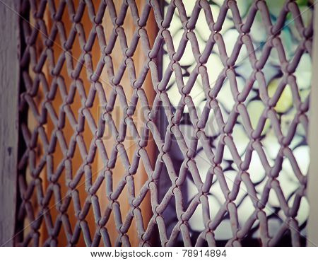 Close Up Of A Metal Rolling Shutter