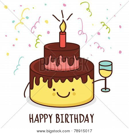 Cute Cartoon Smiling Cake With Glass Of Champagne. Vector Illustration. Happy Birthday Greeting Card