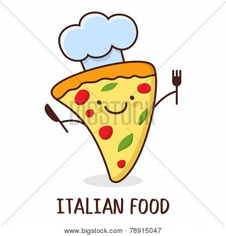 Cute Cartoon Smiling Piece Of Pizza. Vector Illustration. Concept For Italian Restaurant, Food Deliv