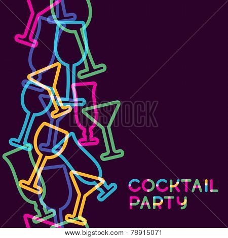 Abstract Colorful Cocktail Glass Seamless Background. Concept For Bar Menu, Party, Alcohol Drinks, C