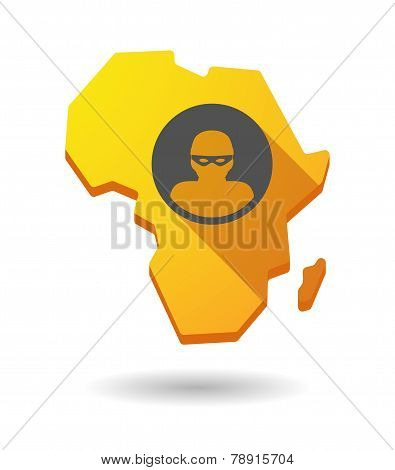 Africa Continent Map Icon With A Female Sign