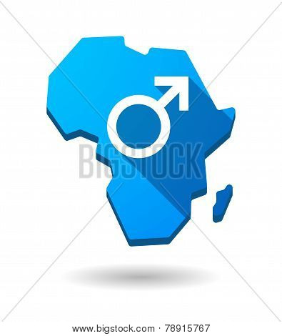 Africa Continent Map Icon With A Male Sign