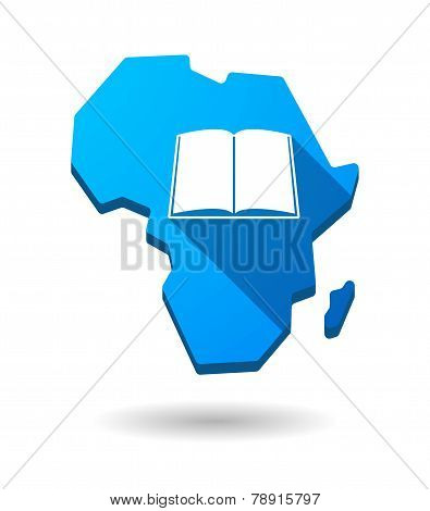 Africa Continent Map Icon With A Book