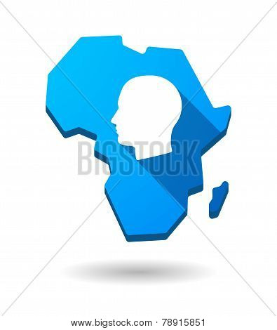 Africa Continent Map Icon With A Male Head