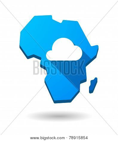 Africa Continent Map Icon With A Cloud