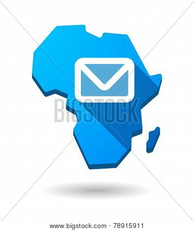 Africa Continent Map Icon With An Email Sign