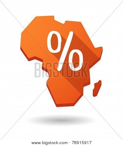 Africa Continent Map Icon With A Discount Sign