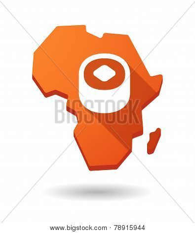 Africa Continent Map Icon With A Sushi Piece