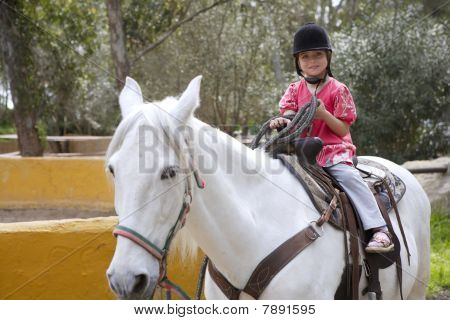 Rider Little Girl Jockey Hat White Horse In Park