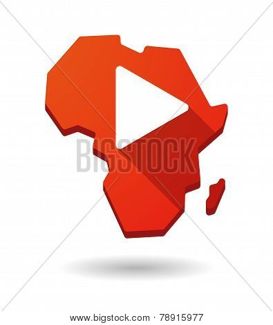 Africa Continent Map Icon With A Play Sign