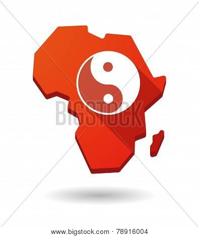 Africa Continent Map Icon With A Ying Yang